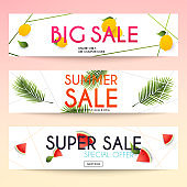 Set of sale banners design, discounts and special offer. Shopping background, label for business promotion. Vector illustration.