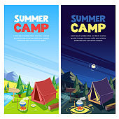 Summer camping vector banner, poster design template. Adventures, travel and eco tourism concept. Touristic camp tent