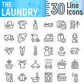 Laundry line icon set, clean symbols collection, vector sketches, logo illustrations, wash signs linear pictograms package isolated on white background.