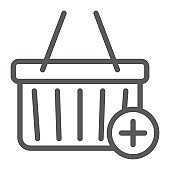 Add to cart line icon, e commerce and marketing, retail box sign vector graphics, a linear pattern on a white background, eps 10.