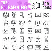 E Learning line icon set, Online education symbols collection, vector sketches, logo illustrations, internet tutorial signs linear pictograms package isolated on white background, eps 10.