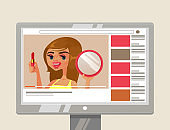 Woman girl person youtuber beauty blogger character showing and teaching how to do makeup with lipstick and mirror. Online blog internet site web channel content video tutorial concept. Vector flat cartoon graphic design illustration