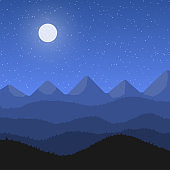 Night mountain landscape with moon
