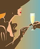 Drinking champagne.