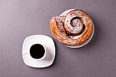 morning coffee and biscuit - high-calorie breakfast, unhealthy food, modern bad habits, caffeine and fast carbohydrates