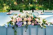 Wedding decor. Table for the newlyweds outdoor. Wedding reception. Elegant wedding table arrangement, floral decoration, restaurant. Wedding in the forest