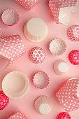 Set of Pink polka dot, heart paper cupcaker liner, Bakery background, monochrome Vintage pastel background, romantic cooking concept