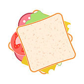 Picture of a sandwich with sausage, cheese, salad and tomatoes. Vector illustration on white background.