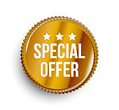 Special offer circle gold colored banner.