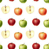watercolor drawing seamless pattern with apples