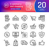 Online shopping and e-commerce line icons set. Suitable for banner, mobile application, website. Editable stroke