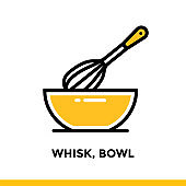 Outline icon WHISK, BOWL of bakery, cooking. Vector line icons suitable for info graphics, print media and interfaces