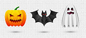 Set of halloween pumpkin, bat and ghost icons. Vector illustration isolated on transparent background for Happy Halloween