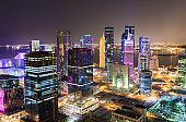 The illuminated skyline of Doha, Westbay, Qatar