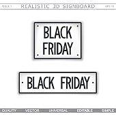 Black Friday. 3D signboard. Top view. Vector design elements
