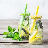 Fresh cool lemon cucumber berry infused water detox drink