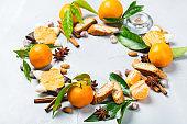 Christmas cookies wreath with tangerine