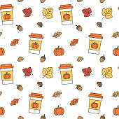cute fall autumn collection seamless vector pattern background illustration