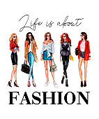 Life is about fashion t-shirt design with stylish girls and lettering. Vector illustration