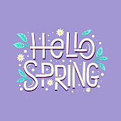 Hello spring cute card with hand drawn leaves and lettering. Calligraphy quote on voilet background.