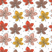 cute colorful chestnut leaves seamless vector pattern background illustration