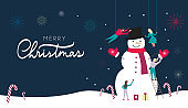 Merry Christmas web banner or greeting card design template with people making snowman in flat style.