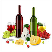 Red and white wine in bottles and glasses, different types of gr