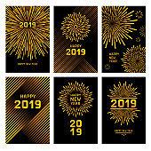 Golden new year fireworks