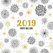 New year 2019 fireworks seamless pattern