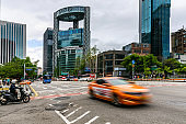 Taxi in downtown Seoul