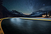 road driving under milky way in Yoho national park