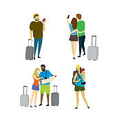 Different people travelers with suitcases