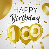 Happy birthday 100 hundred year gold balloon card