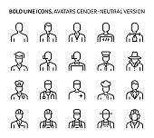Gender neutral avatars, bold line icons