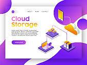 Internet web app landing page for cloud storage
