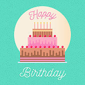 Happy birthday greeting card with party cake