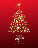 Christmas gold star shape tree on red background