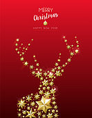Christmas and New Year golden star deer card