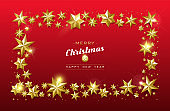 Christmas card gold star frame on red background