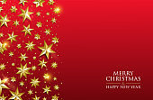 Christmas card gold star design on red background