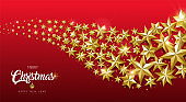 Christmas and New Year gold star design web banner