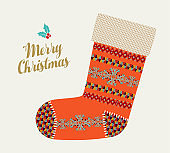 Merry Christmas holiday card of red winter sock