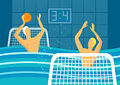 Water polo player in swimming pool sports games vector