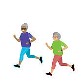 Cartoon retired grandmother running,