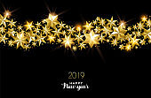 Happy New Year 2019 gold star decoration card