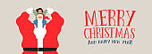 Merry Christmas web banner of santa claus and kid
