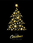 Christmas and New Year gold star xmas tree card