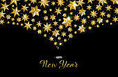 Happy New Year greeting card of gold star design
