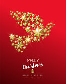 Christmas gold star shape dove on red background