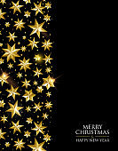 Christmas and New Year gold star greeting card